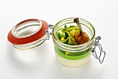 Asparagus and pea mousse with fried chicken wing