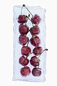 Cherries frozen in a block of ice