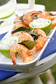 Grilled prawn skewers with bay leaves and lime mayonnaise