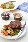 Grilled pork neck steak with vegetables