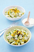 Potato, cucumber and sweetcorn salad with green peppercorns