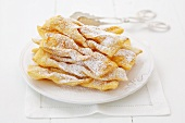 Faworki (deep-fried pastries, Poland) with icing sugar