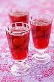 Strawberry compote in three glasses