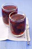 Plum compote in two glasses