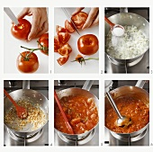 Making goulash sauce with tomatoes