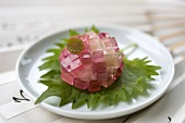 Wagashi (Sweet rice ball with jelly cubes, Japan)