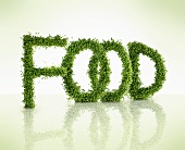 The word FOOD in cress