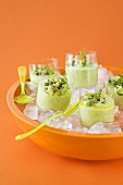 Cold avocado cream in glasses