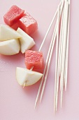 Wooden skewers with fruit
