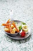 Coconut-coated prawns