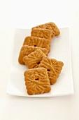 Several Spekulatius cookies on plate