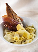Mackerel with smoked bacon and cabbage