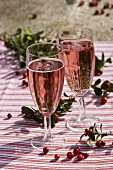 Sparkling wine with grenadine and cranberry syrup