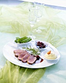 Duck breast with Amarena cherry sauce and mashed potato