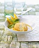 Deep-fried ice cream on mango zabaglione