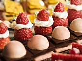 Petit fours with fresh strawberries