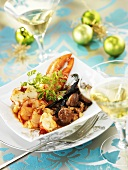 Lobster fricassée with candied chestnuts