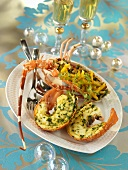 Spiny lobster with mango and lime salad