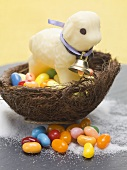 White chocolate lamb and sugar eggs in an Easter nest