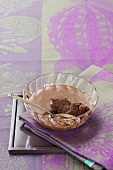 Mousse au chocolat in a glass bowl