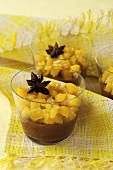 Chocolate caramel mousse with pineapple