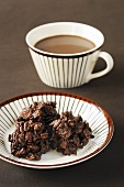 Chocolate crispies with hot chocolate