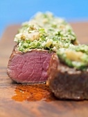 Beef sirloin with herb crust