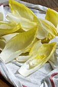 Chicory leaves on tea towel