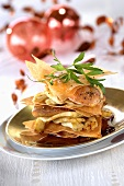 Millefeuille of fried goose liver, Jerusalem artichoke, brick pastry
