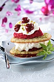 Millefeulle of langue de chat biscuits, cherry sorbet, vanilla cream