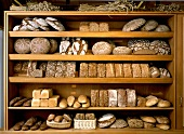 Bread on shelves in an organic baker's shop
