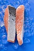 Slices of raw salmon on ice