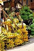 Woman at a banana stall in Burma