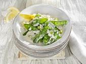 Mangetout with rice and lemon sauce