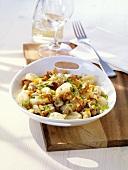 Gnocchi with vegetable cream sauce and mushrooms