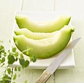 Slices of Galia melon and oregano