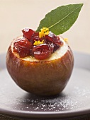 Pear with cranberries and orange zest