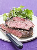 Beefsteak with green salad