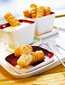 Potato croquettes with cheese dip