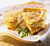 Potato pancakes with soft cheese & smoked salmon (cake)