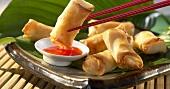 Spring rolls with dip (frozen food)
