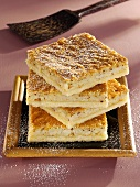 Several pieces of rice cake, stacked