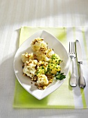 Cauliflower with hazelnut butter and parsley potatoes