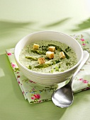 Cream of asparagus soup with cress and croutons