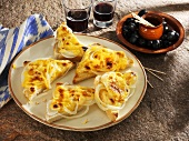 Cheese and onion on toast, olives and red wine (Majorca)