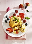 Baked rice dessert with berries