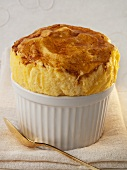 Cheese soufflé in soufflé dish