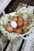 Fresh eggs in a dish