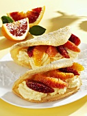 Omelettes with coconut cream and blood orange filling