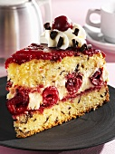 Sponge cake with cherry and mascarpone filling